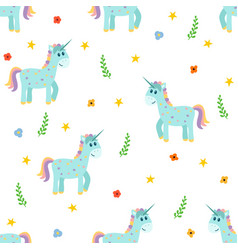 seamless pattern with cute unicorns fashion vector image