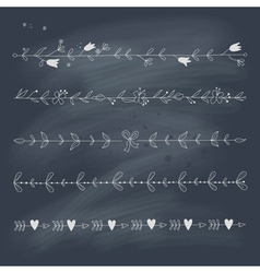 Set of hand drawn floral elements on blackboard vector image
