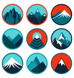 set with abstract logos - mountains vector image vector image