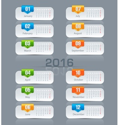 Template monthly calendar for 2016 vector