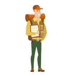 Traveler holding clipboard with papers vector