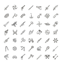 weapons icons set arms solid symbol vector image