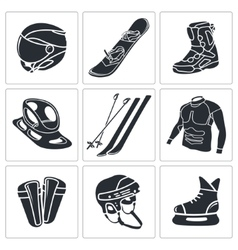 Winter sports icon set vector image vector image