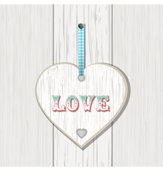 wooden heart love sign vector image