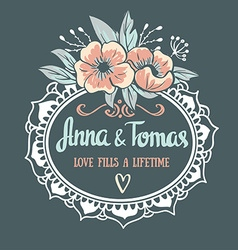 Wreath with poopies hand drawn artwork wedding vector