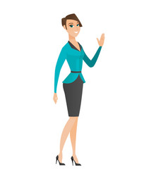 Young caucasian business woman waving her hand vector