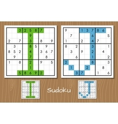 Sudoku set with answers i j letters vector