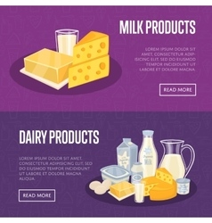 Dairy products horizontal banners set vector image
