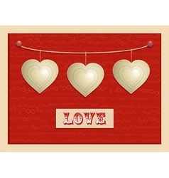 Love and hanging hearts background vector
