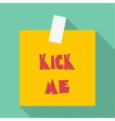 Inscription kick me icon flat style vector