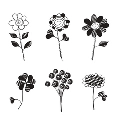 Hand Drawn Flowers Doodles Isolated vector image