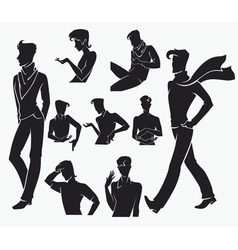 Large collection of men silhouettes vector