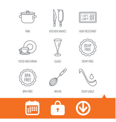 kitchen knives glass and pan icons vector image
