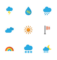 Weather flat icons set collection of frosty sun vector