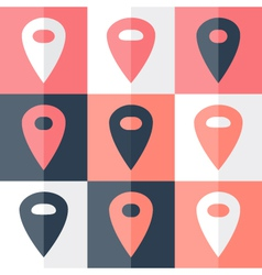 Flat blue pink pin icon set vector image