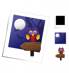 Animal scene halloween owl vector