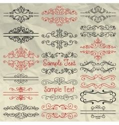 Hand drawn dividers frames swirls on crumpled vector