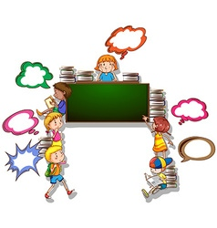 Children reading books and writing on board vector