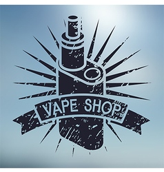 Vape shop logo on blurred background vector