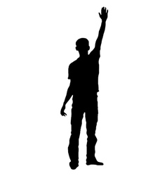Silhouette of a saluting man vector