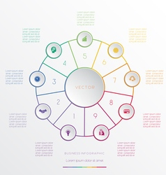 Circle from 9 coloured lines vector