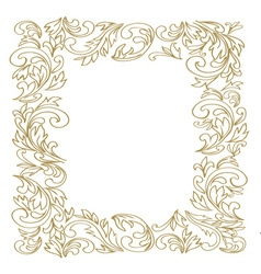 Elegant floral frame golden outline vector