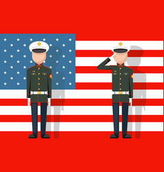 American military veteran ceremonial dress stands vector