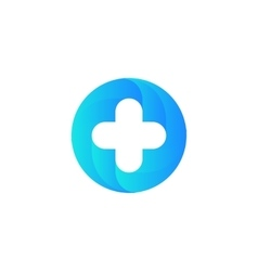 Blue medical cross logo Round shape vector image vector image