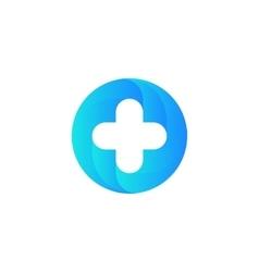 Blue medical cross logo round shape vector