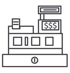 cash machineshop register line icon sign vector image