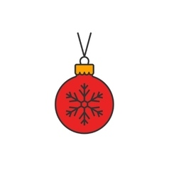 Christmas ball flat line icon vector image