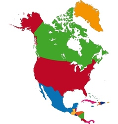 Colorful north america map vector
