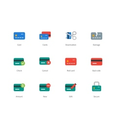 Credit and payment card colored icons on white vector image vector image