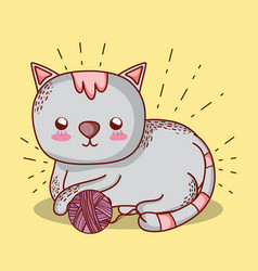 Cute cat doodle cartoon vector