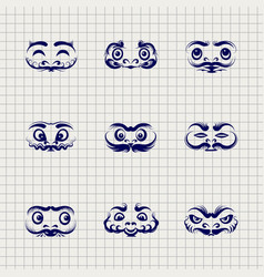 Daruma dolls faces on notebook background vector