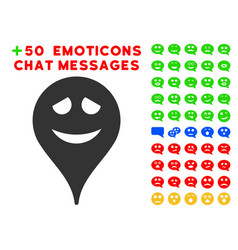Embarrassment smiley map marker icon with bonus vector