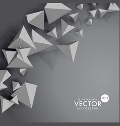 Gray background with 3d floating polygons vector