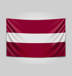 Hanging flag of latvia republic of latvia vector