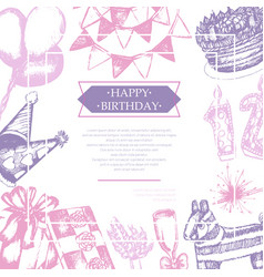 Happy birthday - color vintage postcard vector