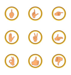human gesture icons set cartoon style vector image