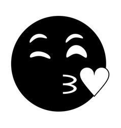 Kiss love emoticon funny pictogram vector