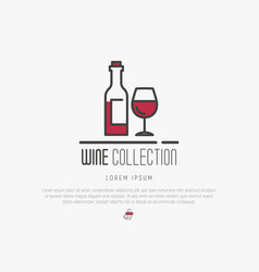 Logotype of wine and wine making modern thin line vector
