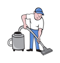 Male cleaner vacuuming vacuum cleaning vector