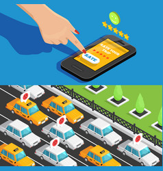 mobile app taxi service isometric banners vector image vector image
