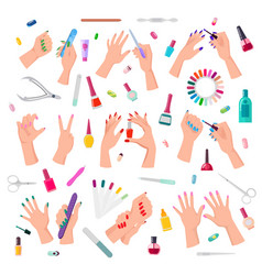 nail service collection poster vector image