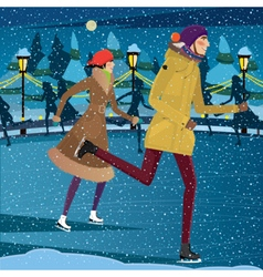 Night at the ice rink vector image
