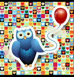 owl and balloon vector image
