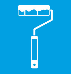 Paint roller icon white vector