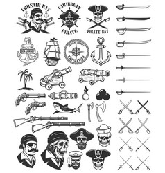 pirates design elements corsair skulls weapon vector image