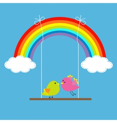 Rainbow and two clouds in the sky Dash line Love vector image